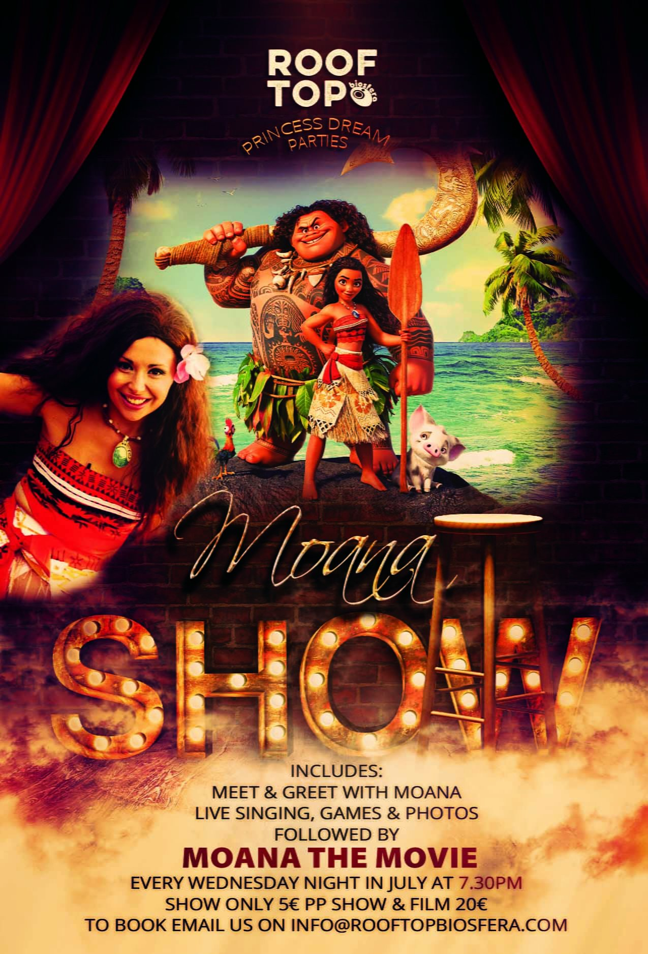 Moana August shows each Wednesday at Rooftop Lanzarote