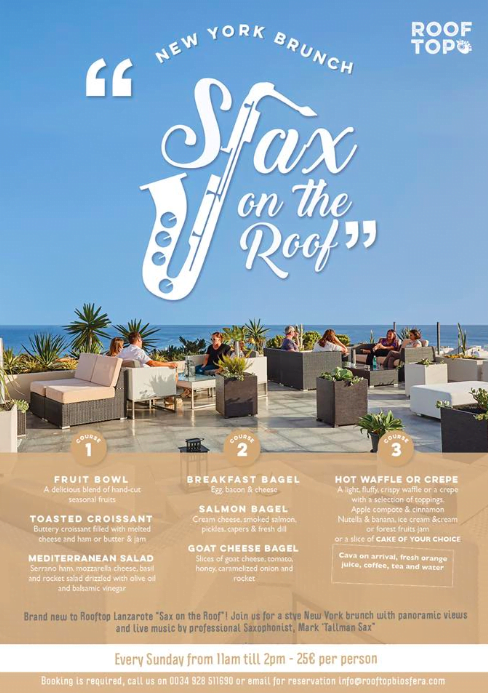 Things to do in Puerto del carmen Lanzarote. Sax on the roof New York Style Brunch menu
